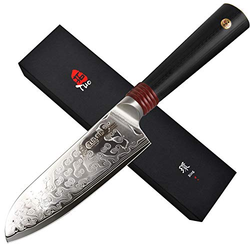 TUO Damascus Santoku Knife 5.5 inch, Japanese AUS-10 High Carbon Rose Damascus Steel, Asian Kitchen Knife with Ergonomic G10 Handle -Ring R Series