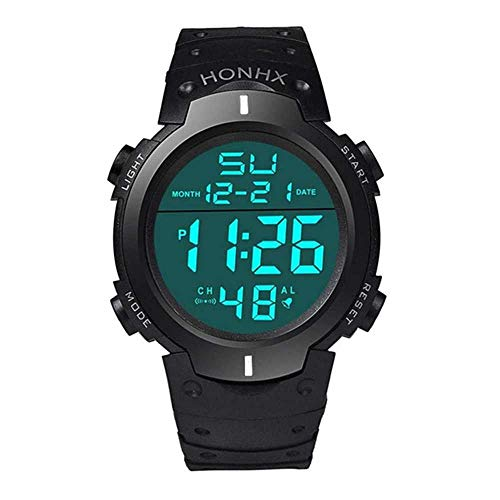 WSSVAN Reloj deportivo, reloj multifuncional LED electrónico de moda para hombres reloj digital LCD fecha caucho resistente al agua reloj luminoso (Weiß)