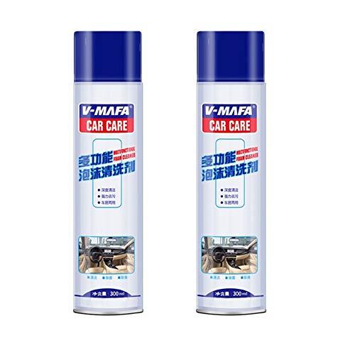 LUOWAN Agente de Limpieza de Espuma Multifuncional, Agente de Limpieza en seco de Espuma para tapicería de Cuero de automóvil de 300 ml, Limpiador de Espuma Agente de restauración (2 Piezas)