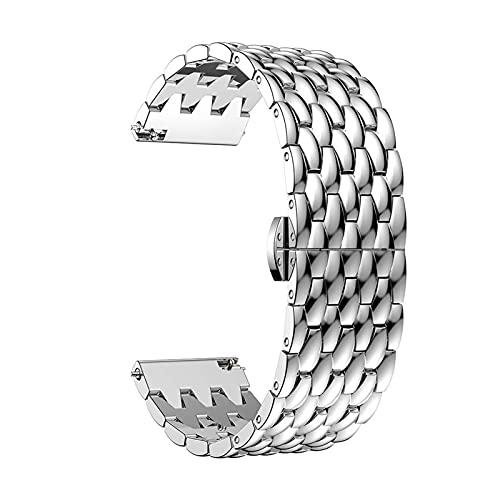 Strap De 22 Mm De Reloj De Reloj Para Huawei Watch GT 2 / GT2 / GT 2E Banda Inteligente Banda De Pulsera De Acero Inoxidable Pulsera De Aleación Para Galaxy Watch 46mm ( Color : Silver , Size : 22MM )