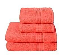 GLAMBURG Juego de 4 Toallas Ultra Suaves, de algodón, Contiene 2 Toallas de baño de 70 x 140 cm, 2 Toallas de Mano de 50 x 90 cm, Uso Diario, Compacto y Ligero, Color Naranja Coral