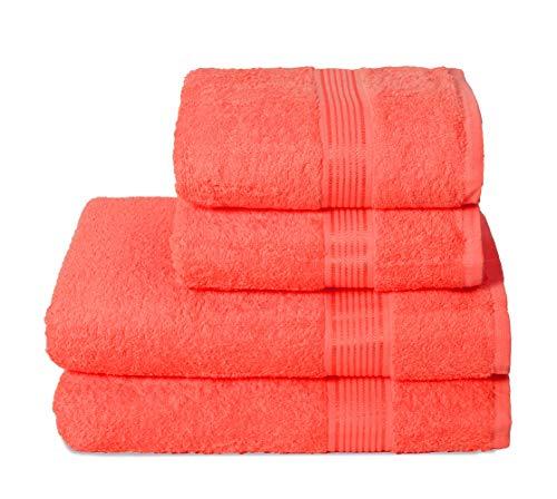 GLAMBURG Juego de 4 Toallas Ultra Suaves, de algodón, Contiene 2 Toallas de baño de 70 x 140 cm, 2...