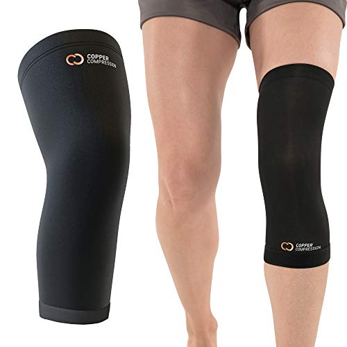 Copper Compression Recovery Knee Sleeve - Guaranteed Highest Copper Content. Best Copper Knee Brace. Wear to Support Stiff + Sore Muscles + Joints. Infused Fit for Men and Women. (Medium)