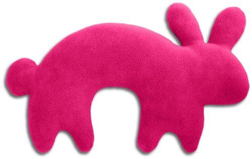 Leschi REISEKISSEN für erholsamen Schlaf in Auto, Flugzeug und Camping-Bett/Reisegeschenk für Kinder und Erwachsene/waschbares Nackenkissen/Hase Paulo, pink schwarz