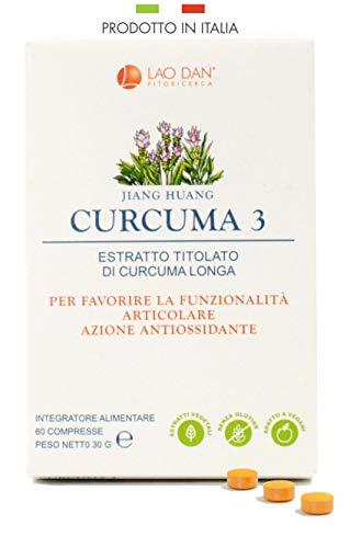 CURCUMA 3 | Con estratto Premium Quality concentrato 100:1 - TITOLATO al 95{cfdd67fcc7e6704e9d1793e95d72cc8796672999a3bbe7822e435957cd69f1a6} in curcumina | Pari a 15.000 mg di curcuma per compressa | PRODOTTO IN ITALIA