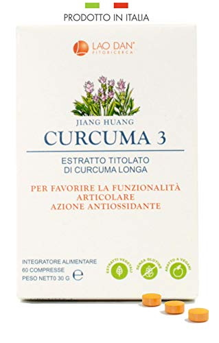 CURCUMA 3 | Con estratto Premium Quality concentrato 100:1 - TITOLATO al 95{661f73d5933c1e096b2f616c5dad8c46fd980b15c34492d400c4b320c9a4d446} in curcumina | Pari a 15.000 mg di curcuma per compressa | PRODOTTO IN ITALIA