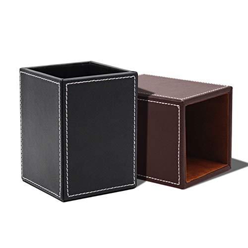 behone 2 piezas Cuadrado Portalápices Piel, Organizador de material de escritorio Piel, Desktop Organiser para acabado de escritorio para lápices de escritorio, oficina, escuela(12*8.5*8.5cm)