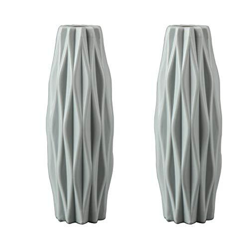 Haucy Blumenvasen Set Grau, Plastikvase zum Wohnzimmer Deko, Vase für Pampasgras, Blumenvase für Blumen Kreative Tischdeko Dekoration, 2er Pack (21x7 cm)