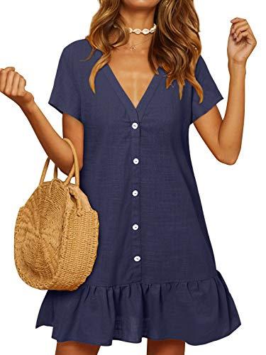 YOINS Damen Sommerkleid Kurzarm Minikleid Einfarbig V-Ausschnitt Homewear Blusenkleid mit Knopfen T-Shirtkleider Tunikakleid Dunkelblau XXL