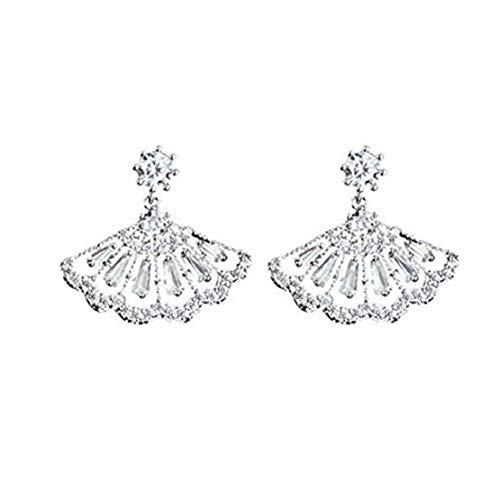 GYKMDF Pendientes de plata con diseño de abanico, pendientes de novia, pendientes...