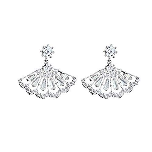 GYKMDF Pendientes de plata con diseño de abanico, pendientes de novia, pendientes de boda de cristal, joyería de novia.