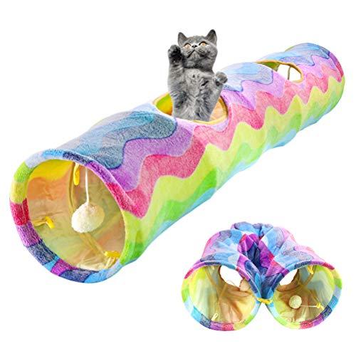 Neborn Divertente Animale Domestico Cat den Tunnel Cat Play Tunnel Pieghevole 2 Fori Cat Tunnel Gattino Giocattolo Coniglio Tunnel