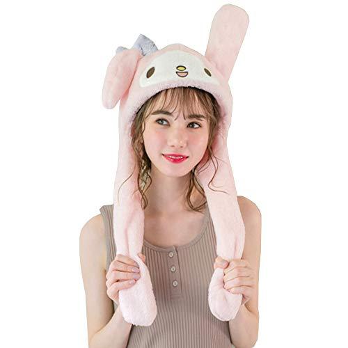 XILUO Pompompurin Hat, Anime Cosplay Fluffy Cap Movable Long Ear Plush Cartoon Cute Soft Warm Yellow Headwear (Pink)