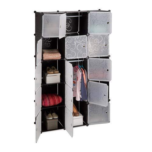 Relaxdays Regalsystem Kleiderschrank mit 11 Fächern, Garderobe mit 2 Kleiderstangen, DIY Kunststoff Steckregal, schwarz