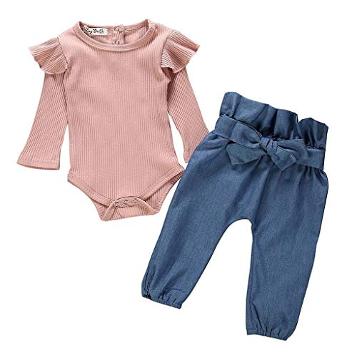 Jimmackey 2pcs Neonata Volant Pagliaccetto Manica Lunga Tutine Body + Denim Pantaloni Fascia Bambina Completo
