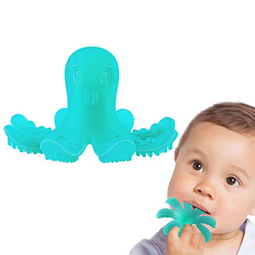 ZOSHING Baby Teether Soothing Pain Relief,Infant Teething Toy,Silicone Baby Octopus Teeth Toy & 100% BPA Free Silicone.(Green)