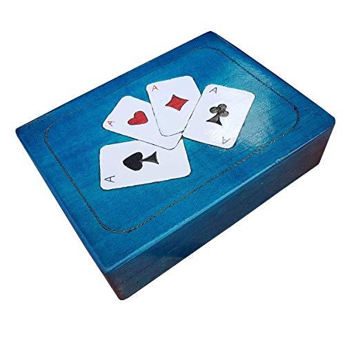 Houten Dubbele speelkaart Opbergdoos in Kleur Blauw