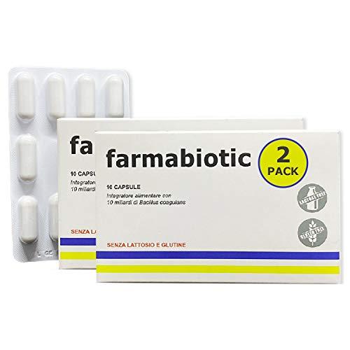 Farmabiotic, Fermenti Lattici Probiotici e Prebiotici, 20 miliardi di UFC per dose giornaliera | 2 confezioni | con FINOCCHIO e VITAMINE B | Protegge la flora intestinale, fermenti lattici probiotici