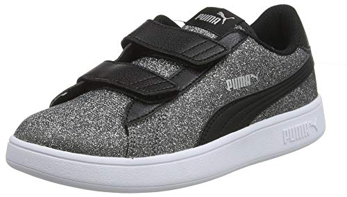 Puma Mädchen Smash V2 Glitz Glam V Ps Sneaker, Schwarz (Puma Black-Puma Silver-Puma White), 30 EU