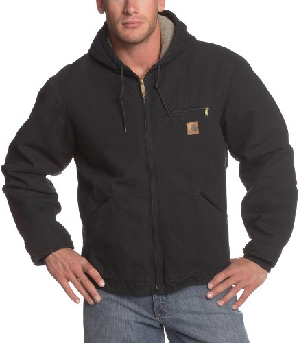 Carhartt Men's Big & Tall Sherpa Lined Sandstone Sierra Jacket J141,Black,X-Large Tall