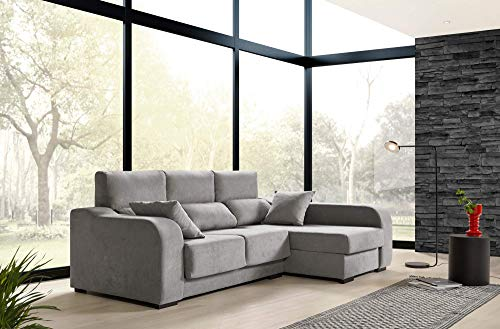 ECCOX - Sofá Chaiselongue Zafiro 3 Plazas Tela Antimanchas Derecha Color Gris