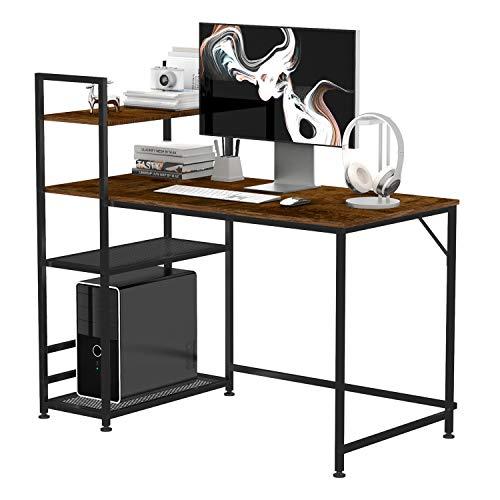 50cm Compatto Multiuso Pieghevole Home Office Computer Laptop Gioco Desktop Semplice Piccolo PC Scrivania Postazioni di Lavoro Tavolo con archiviazione Nessun assemblaggio richiesto-Bianco Puro/_60