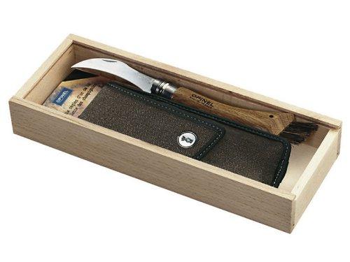 Opinel-Pilzmesser, Etui, Holzbox, mit persönlicher Gravur auf dem Griff