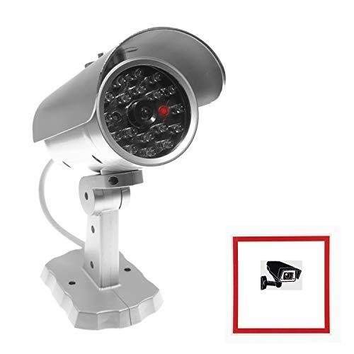 Überwachungskamera Attrappe Set | 1X Kamera Attrappe mit LED inkl. 2X Warnaufkleber Warnschild Achtung Videoüberwachung | ideal zur Warnung und Abschreckung | für Innen & Außen geeignet