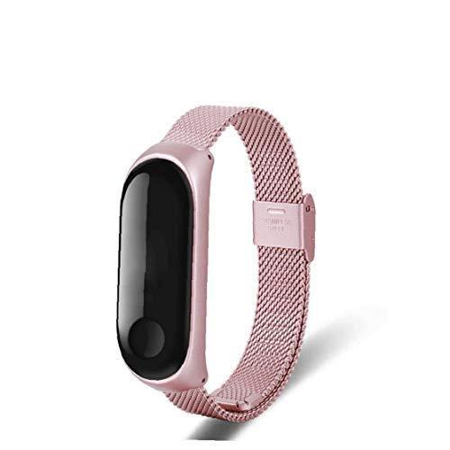 Nicedier Ver Banda magnética Inoxidable de Malla de Acero Correa de Reloj Adapta a Las Necesidades de Mi Banda 3 Rosa diarias