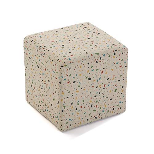 Versa Terrazo Taburete Cubo Cuadrado Puff Reposapies, Algodón y Estructura de Madera, Blanco y Multicolor, 35 x 35 x 35 cm