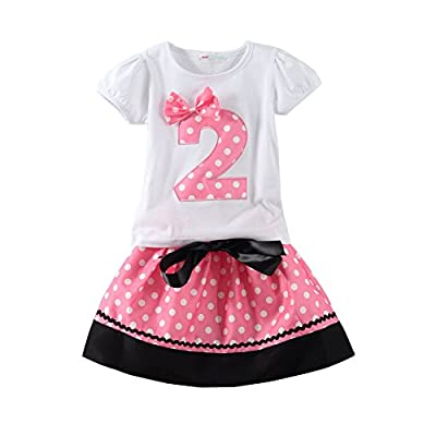 Mud Kingdom Toddler Girls Birthday Outfits I Am 2 Years Clothes Skirt Sets Pink 24M