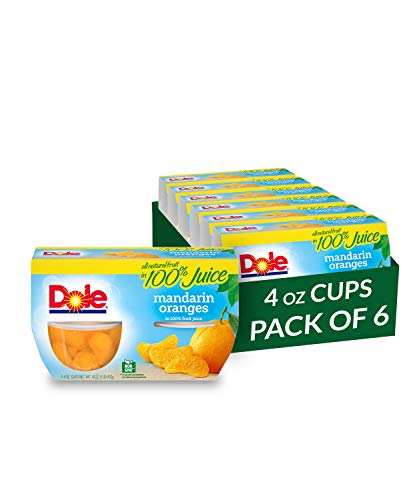 Dole Fruit Bowls, Mandarin Oranges in 100% Fruit Juice, 4 Count, 4 Ounce Cups (Pack of 6) - 24 Total Cups