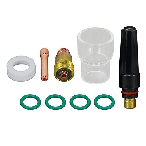 TIG Stubby Gas Lens Spannzangengehäuse 2,4 mm 17GL332 Spannzange 10N24S Pyrex Cup Kit für DB SR WP 17 18 26 WIG-Schweißbrenner-Zubehör 9st