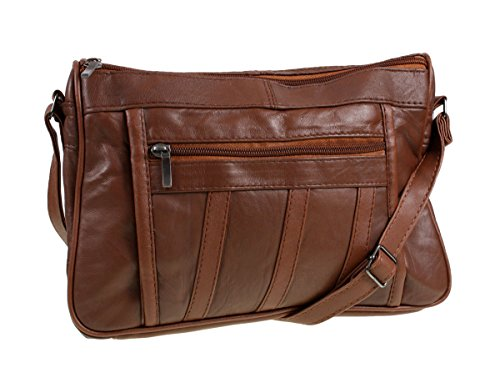 Womens Super Soft Nappa Leather Shoulder Bag / Handbag with Two Main Zipped...