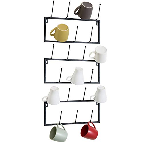 MyGift Set of 3 Black Metal WallMounted Coffee Mug Storage Rack 21Hooks Total