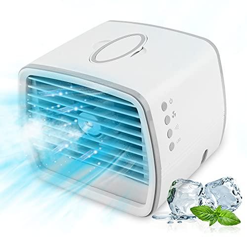UBEGOOD Mobile Klimagerät, Mini Luftkühler Mini Klimaanlage Tragbar Ventilator Kleine Luftkühler mit 3 Windgeschwindigkeiten 7 Farben Luftbefeuchter USB Air Cooler für Schlafzimmer Wohnzimmer Büro