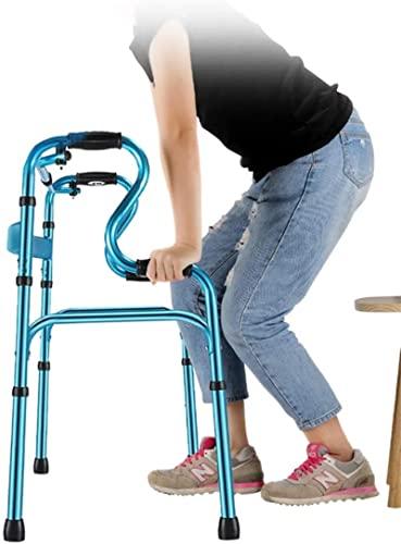 Blue Portable Rollator Walker, Seniors de aluminio plegable Senioright Walker, asistencia de paso pesado para adultos mayores, altura ajustable