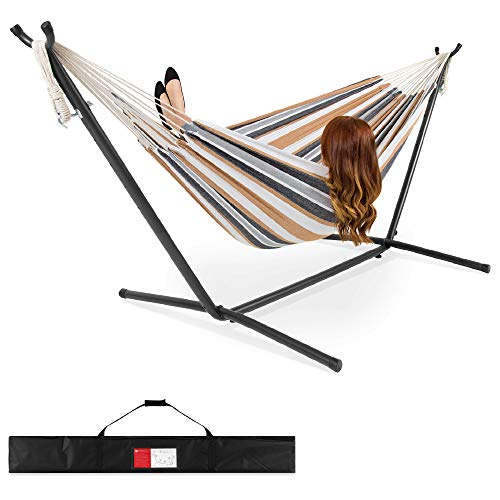 2-Person Cotton Double Hammock Set w/ Steel Stand
