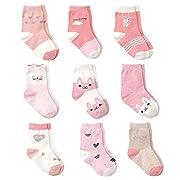 Cotton Coming Rosa Baumwolle Baby Mädchen Socken,9 Paar Süß. Kleinkind Mä dchen Socken mit Griffen (6-12 Monate,EU16-18)