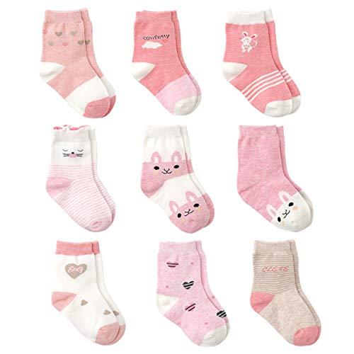 Cotton Coming Rosa Algodón Niñas Calcetines Bebé,9 Pares Lindo adj. Bebé Calcetines Niña (0-6 meses,EU12-15)