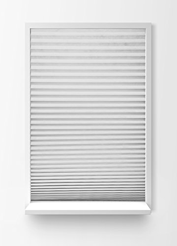 """Insta Shades / Room Darkening Blackout Temporary Pleated Fabric Shades 35.5W X 72"""" H (35.5w x 72h Inch / 5pack, White/Silver)"""