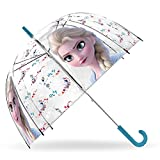 SKYLINE Paraguas para Niños, Frozen, Campana Transparente, Paraguas Infantil, Poliéster, 72cm diámetro, Vuelta al Cole, Ideal para Niños