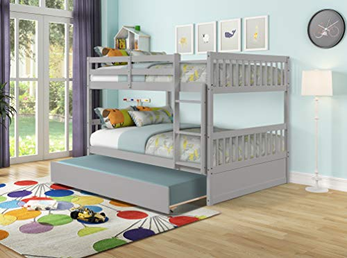 Merax Full Over Full Wood Bunk Bed with Twin Trundle Bed and Removal Ladder and Safety Rail, Can be Divided into 2 Beds (Light Grey)