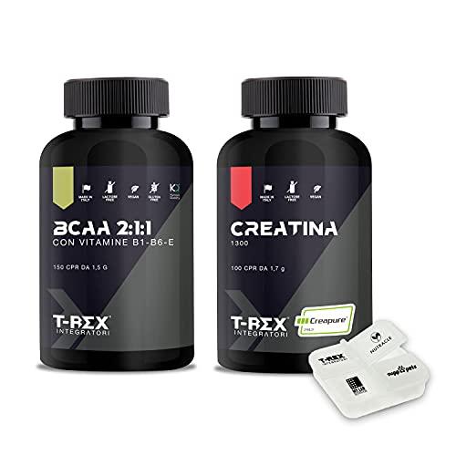 PRE-WORKOUT COMBO: CREATINA monoidrato 1300 100 compresse da 1,3g + BCAA 2:1:1 Kyowa aminoacidi ramificati 150 compresse + Porta Pillole. T-Rex Integratori