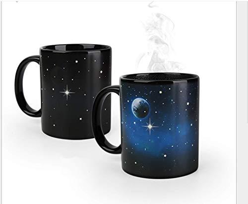 KaBurger® Farbwechsel Tasse,Magische Kaffeetasse, Kaffee Tee Milch Hot Cold Mug wärmeempfindliche Farbwechsel Farbänderung bei Temperaturwechsel(2 Stück, Erde und Mond)