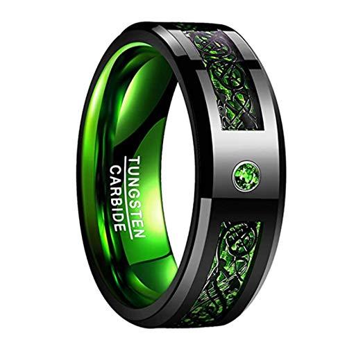 Anillo de Acero de tungsteno Dragon Zircon Anillo de Oro de tungsteno para Hombre,Green,11