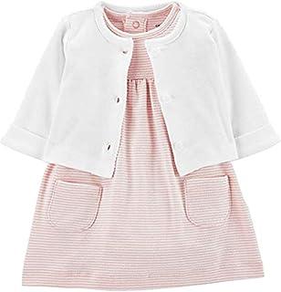 Carter's Baby Girls' 2-Piece Bodysuit Dress & Cardigan Set - Pink Stripped