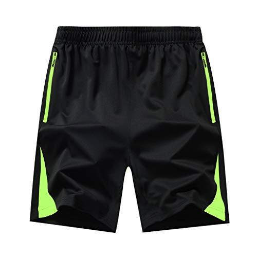 MOTOCO Schnelltrocknende Shorts für Herren Core Training Atmungsaktive Outdoor-Sportshorts Strand-Shorts Taschen-Badehose Badeshorts(2XL,Grün)