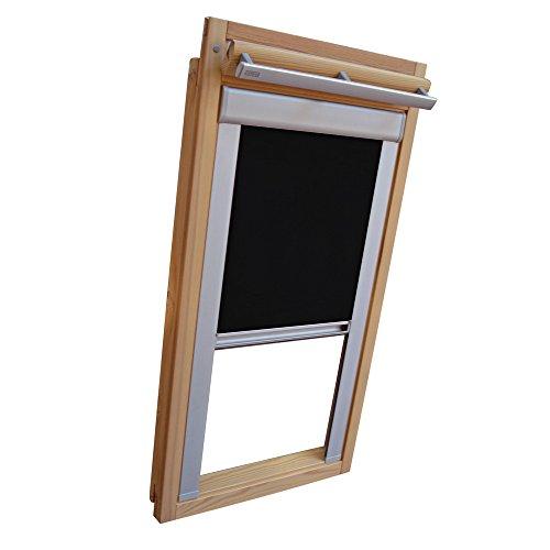 Verdunkelungsrollo THERMO Alu-Rückseite für VELUX Dachfenster TYP GGL/GPL - 306 oder M06 - Farbe Schwarz - mit Aluminium Seitenschienen - KLICK Montage