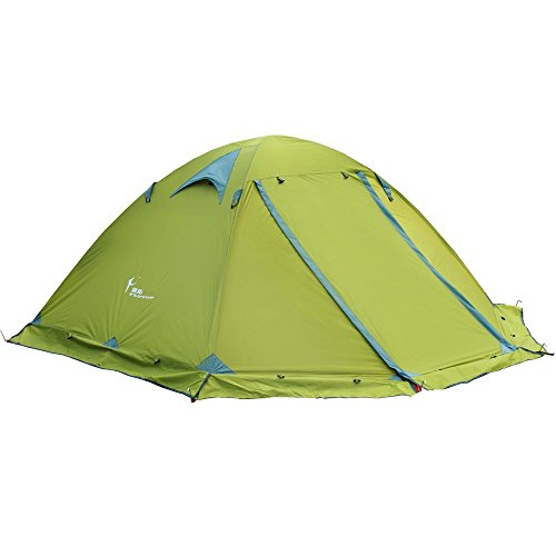 FLYTOP 3-4 Season 1-2-person Double Layer Backpacking Tent Aluminum Rod Windproof Waterproof for Camping Hiking Travel Climbing - Easy Set Up (Green-4 Season Tent)